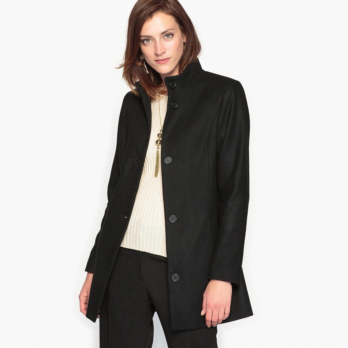 Пальто короткое с воротником-стойкой, 57% шерсти пальто из шерстяного драпа 70
