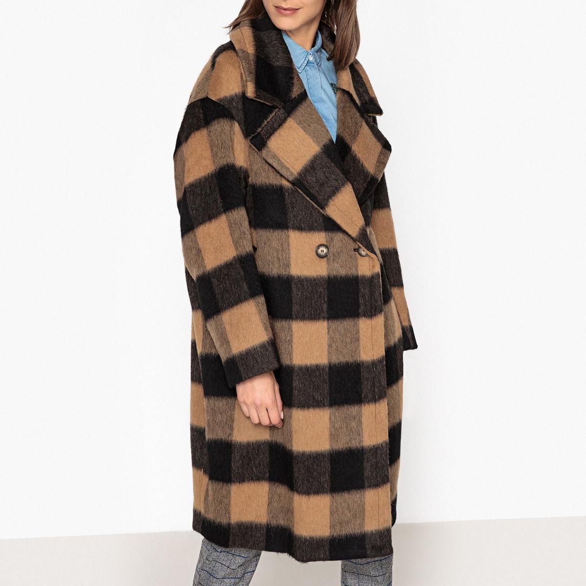 Пальто средней длины с принтом в клетку ROASTED