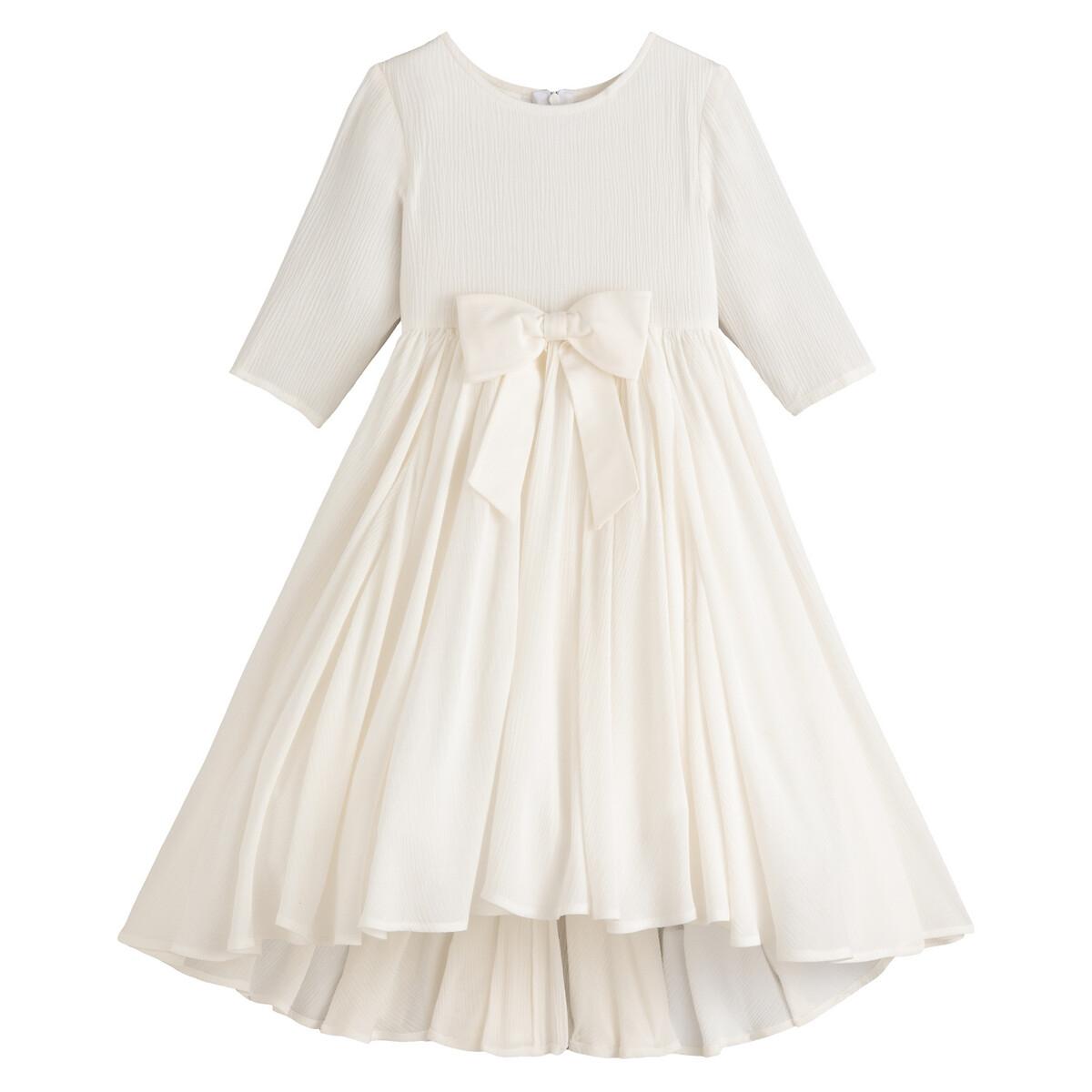 Асимметричное LaRedoute Платье с рукавами 34 214 лет 4 года - 102 см бежевый