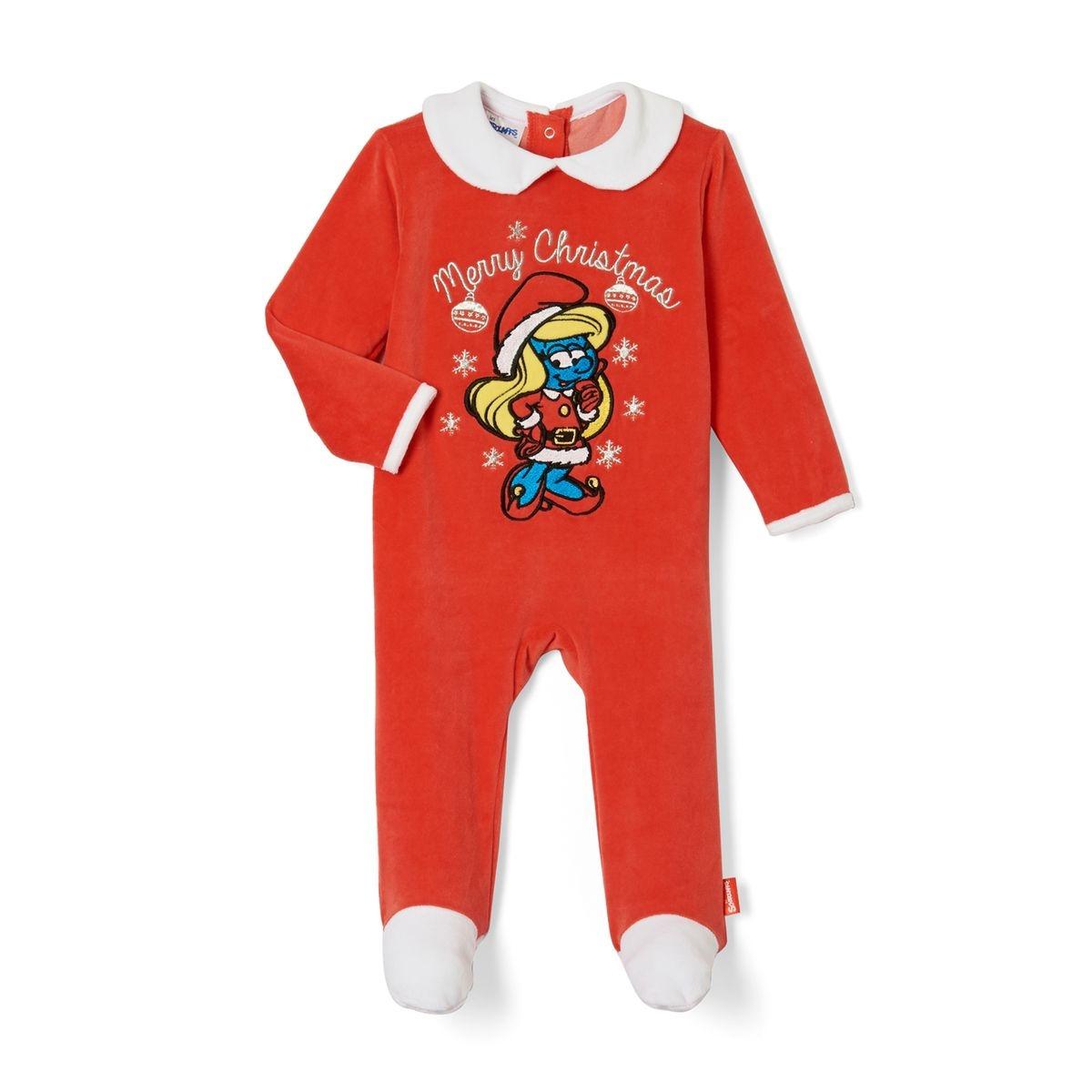 Pyjama en velours avec pieds, 3 mois - 2 ans