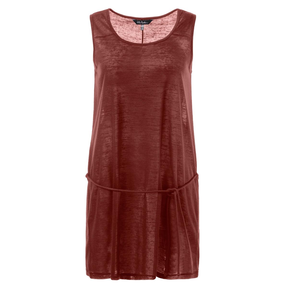 ПлатьеПлатье - ULLA POPKEN. Симпатичное летнее платье из джерси, напоминающее лен   . Без рукавов. округлый вырез и завязки . 100% полиэстера.. Длина в зависимости от размера ок. 90-100 см.<br><br>Цвет: красный