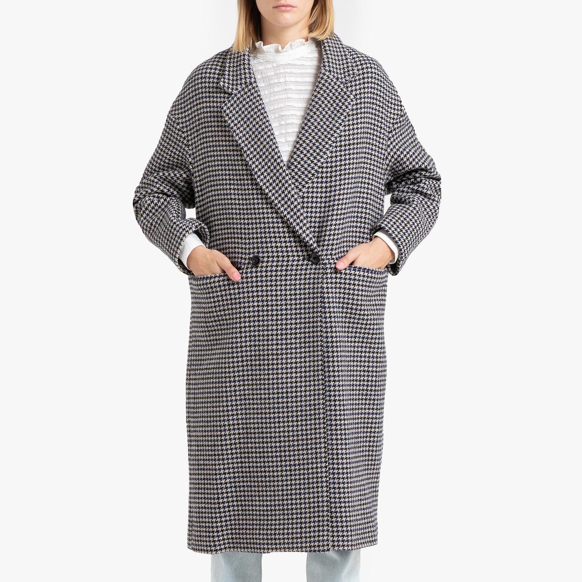 все цены на Пальто La Redoute Длинное с застежкой на пуговицы GETTYSBURG S серый онлайн