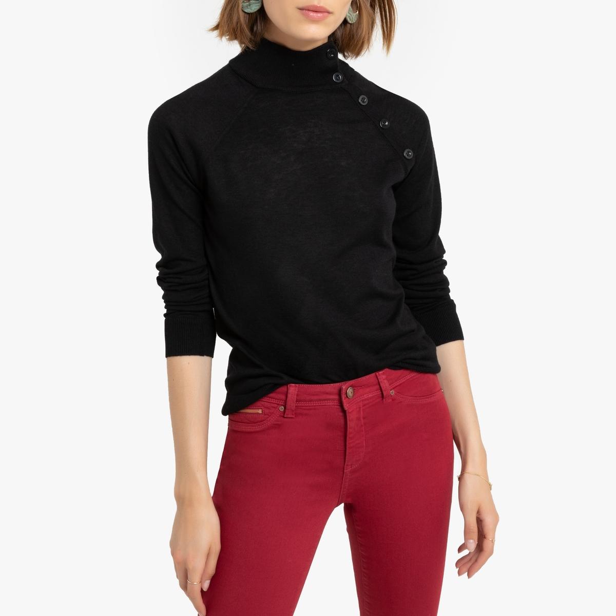Пуловер La Redoute С воротником-стойкой из тонкого трикотажа Malowne S черный
