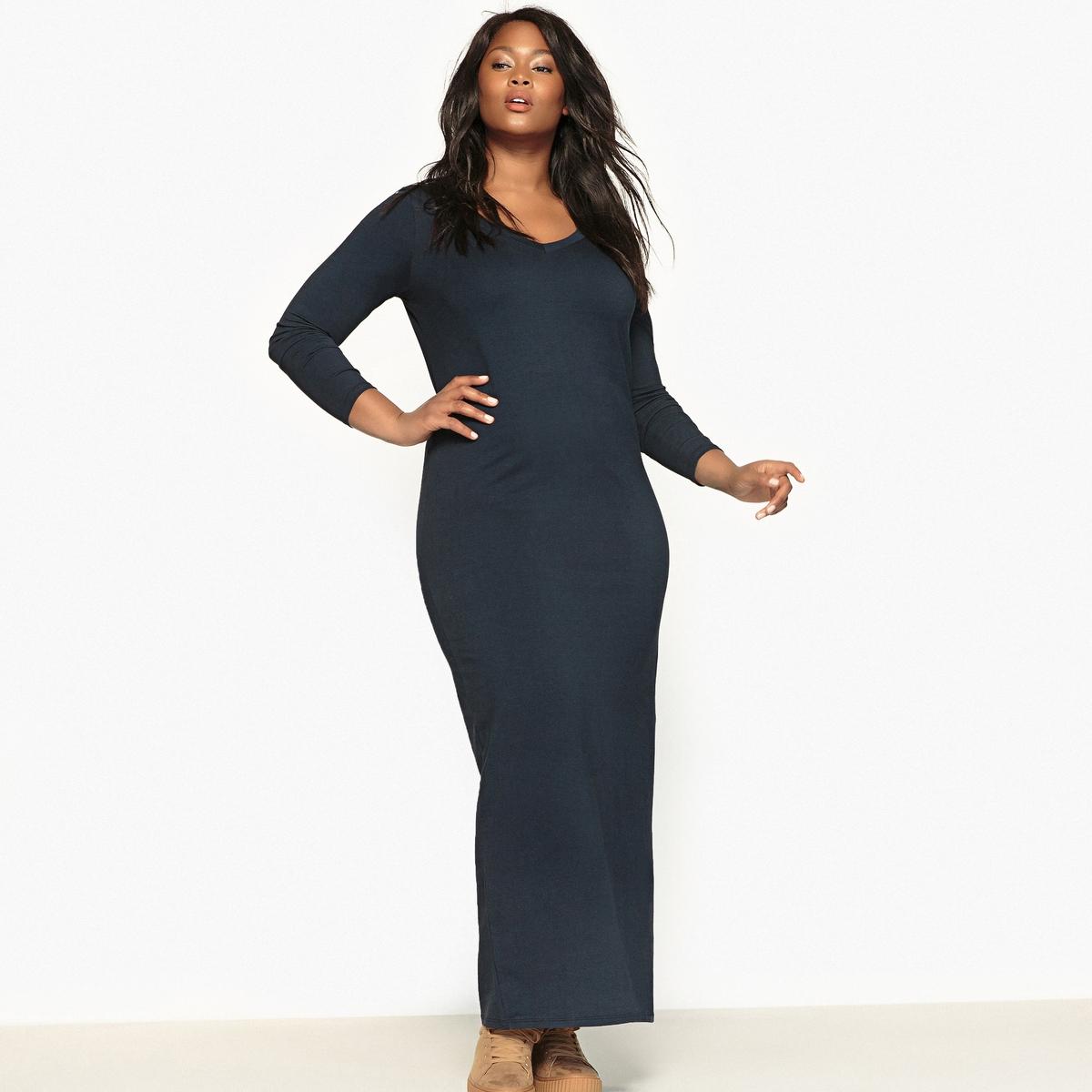 Платье длинное трикотажное с длинными рукавамиОчень женственное длинное платье из мягкого и струящегося трикотажа .Это длинное платье можно носить по любому случаю. Очаровательный V-образный вырез спереди и сзади.Детали  •  Форма : МАКСИ •  Удлиненная модель  •  Длинные рукава    •   V-образный вырез Состав и уход  •  48% хлопка, 4% эластана, 48% модала •  Стирать при 30° на деликатном режиме  •  Сухая чистка и отбеливание запрещены   •  Не использовать барабанную сушку  •  Низкая температура глажки Товар из коллекции больших размеров<br><br>Цвет: черный<br>Размер: 44 (FR) - 50 (RUS).46 (FR) - 52 (RUS).48 (FR) - 54 (RUS).58 (FR) - 64 (RUS).60 (FR) - 66 (RUS)