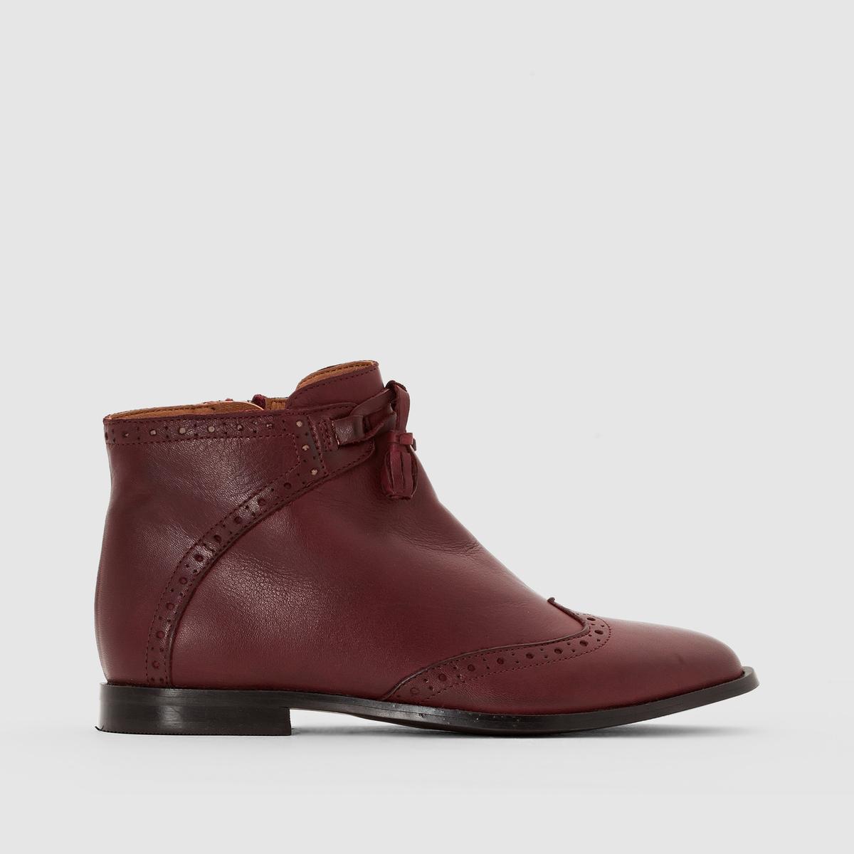 Ботильоны кожаные с кисточками ботинки кожаные с кисточками