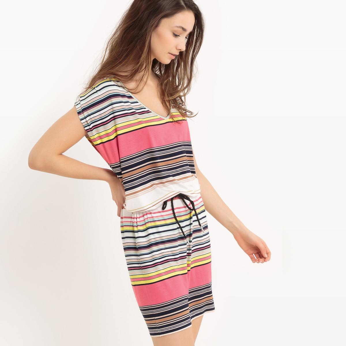 Платье в полоску без рукавовМатериал : 95% вискозы, 5% эластана.  Длина рукава : без рукавов  Форма воротника : без воротника Покрой платья : платье прямого покроя  Рисунок : в полоску.   Длина платья : до колен<br><br>Цвет: в полоску розовый/белый<br>Размер: L