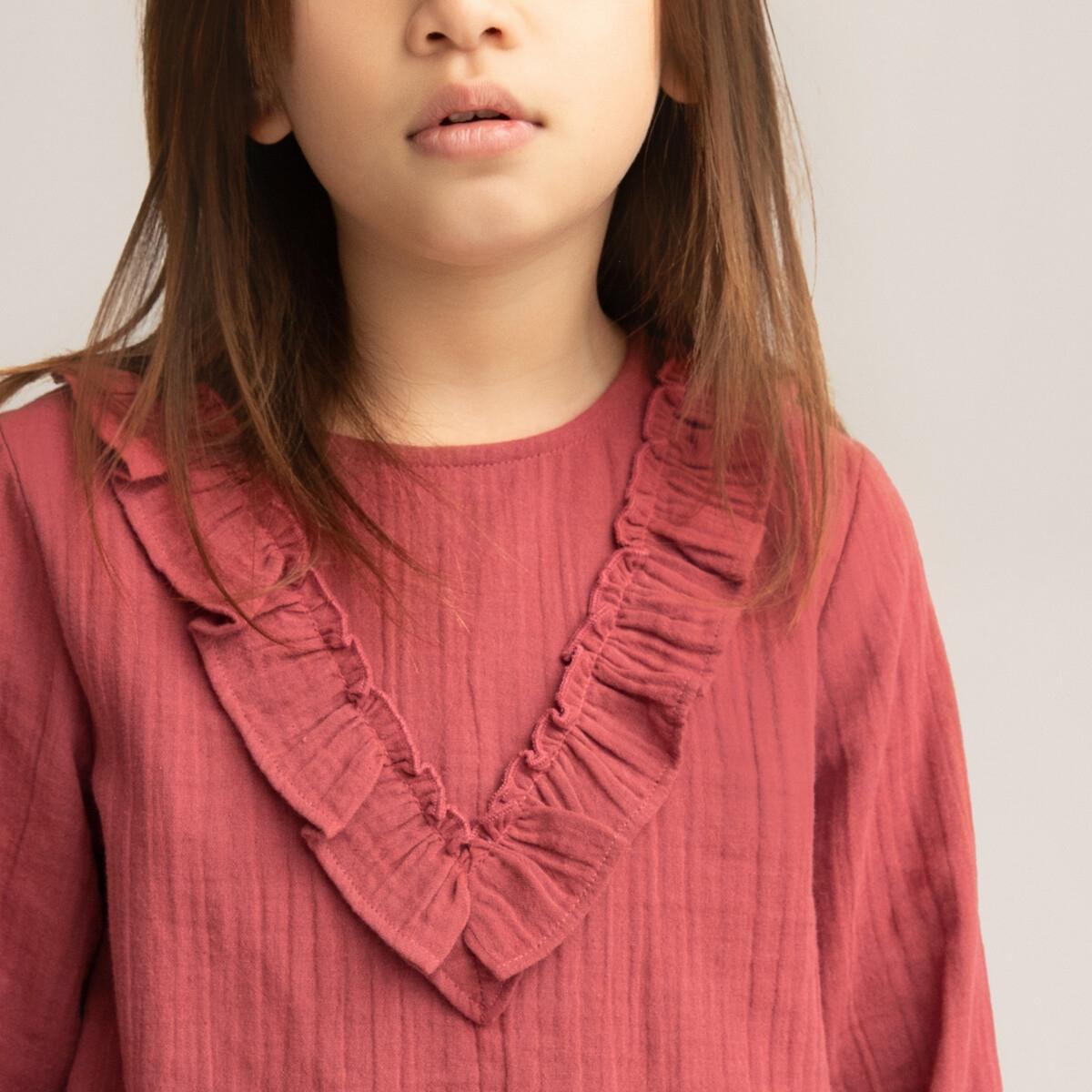 Блузка LaRedoute С воланами из хлопчатобумажной газовой ткани 2-14 лет 10 лет - 138 см розовый
