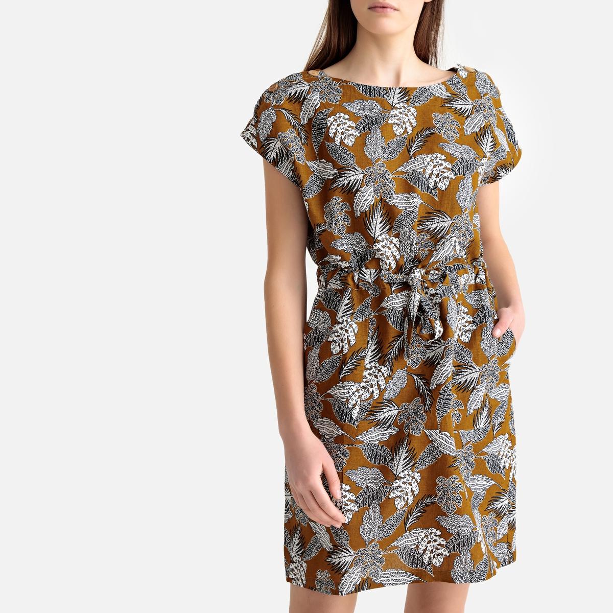 Платье La Redoute Короткое прямое с цветочным рисунком без рукавов 36 (FR) - 42 (RUS) разноцветный платье прямое с цветочным рисунком и контрастной полосой сзади