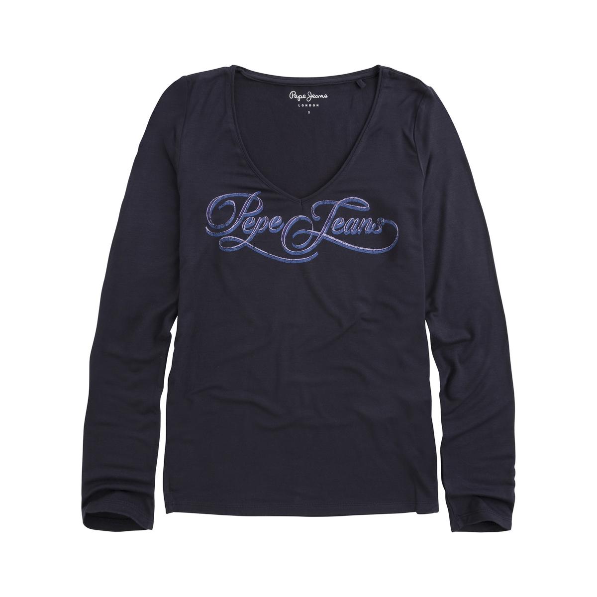 цена Футболка La Redoute С длинными рукавами и рисунком спереди Marlne XS синий в интернет-магазинах