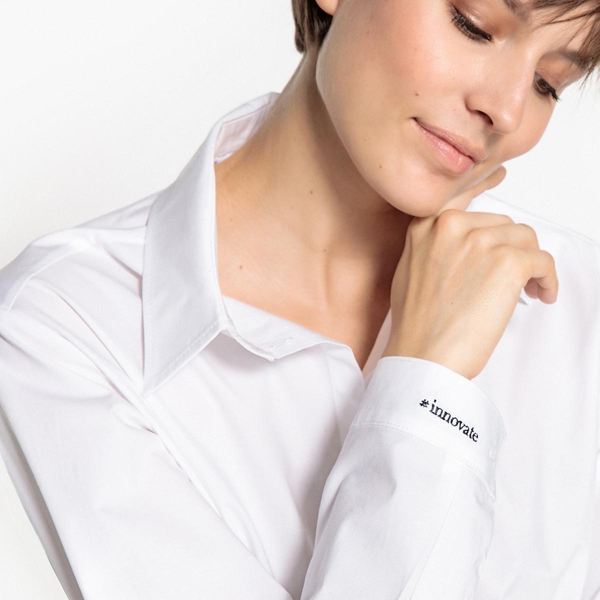 Рубашка с вышивкой #innovate на манжетеОписание:Эксклюзивное и историческое сотрудничество! La Redoute присоединяется к празднованию Дня цифровой женщины и предлагает эту белую рубашку с вышивкой или именем для всех деловых женщин. Потому что La Redoute предлагает одежду для женщин, которые хотят изменить мир, La Redoute переведет 4,50 евро с каждой проданной рубашки в фонд Margaret, который поддерживает стартапы, основанные женщинами.Детали •  Длинные рукава •  Прямой покрой •  Воротник-поло, рубашечныйСостав и уход •  98% хлопка, 2% эластана •  Tемпература стирки 30° на деликатном режиме •  Любые растворители / не отбеливать •  Не использовать барабанную сушку •  Низкая температура глажки<br><br>Цвет: белый