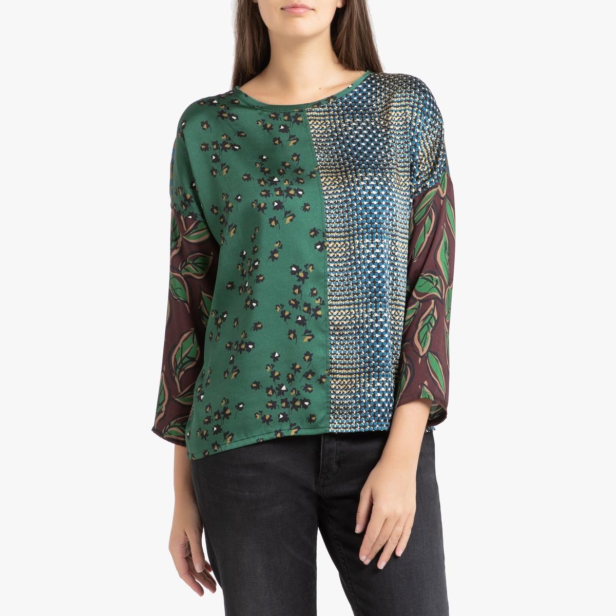 Блузка La Redoute С длинными рукавами TEVY S/M разноцветный блузка с круглым вырезом графическим рисунком и длинными рукавами