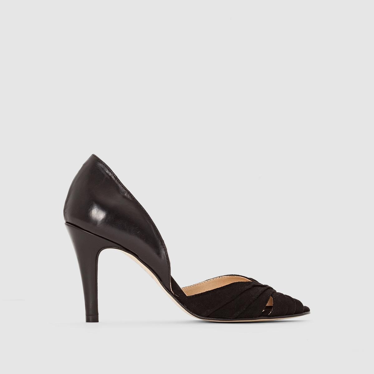 Туфли кожаные на каблуке, DOWALПодкладка: Кожа.Стелька: Кожа.       Подошва: Эластомер.       Форма каблука: Шпилька.Мысок: Открытый.Застежка: Без застежки.<br><br>Цвет: черный<br>Размер: 39
