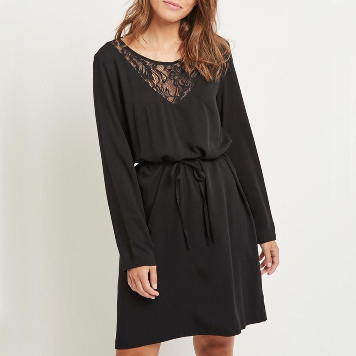 цена Платье с V-образным вырезом и длинными рукавами из кружева