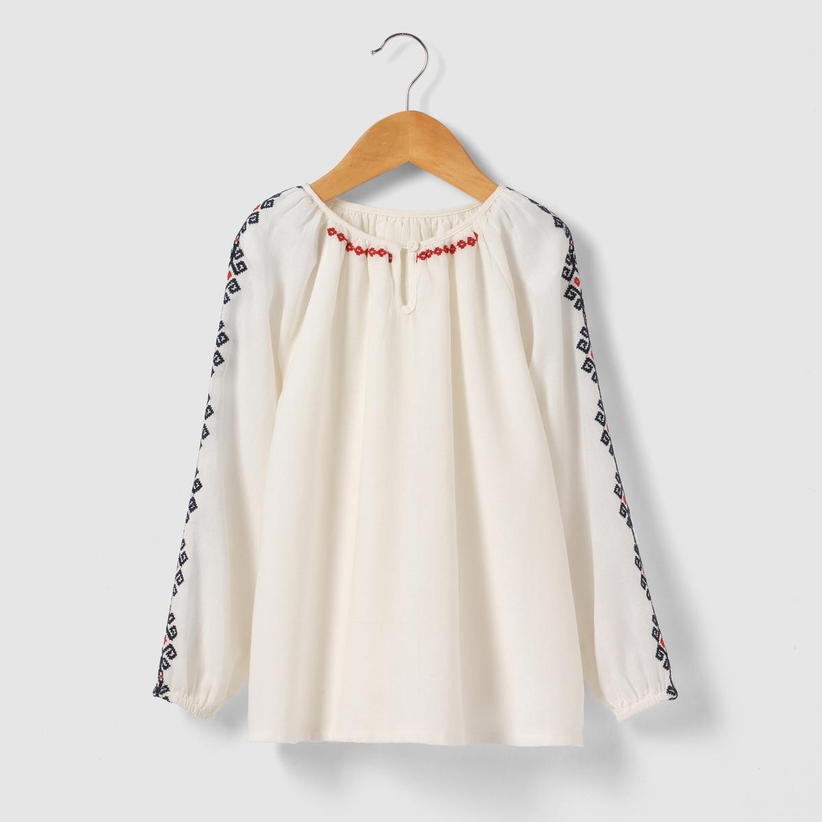Блузка с длинными рукавами в стиле фолк 3-12 лет