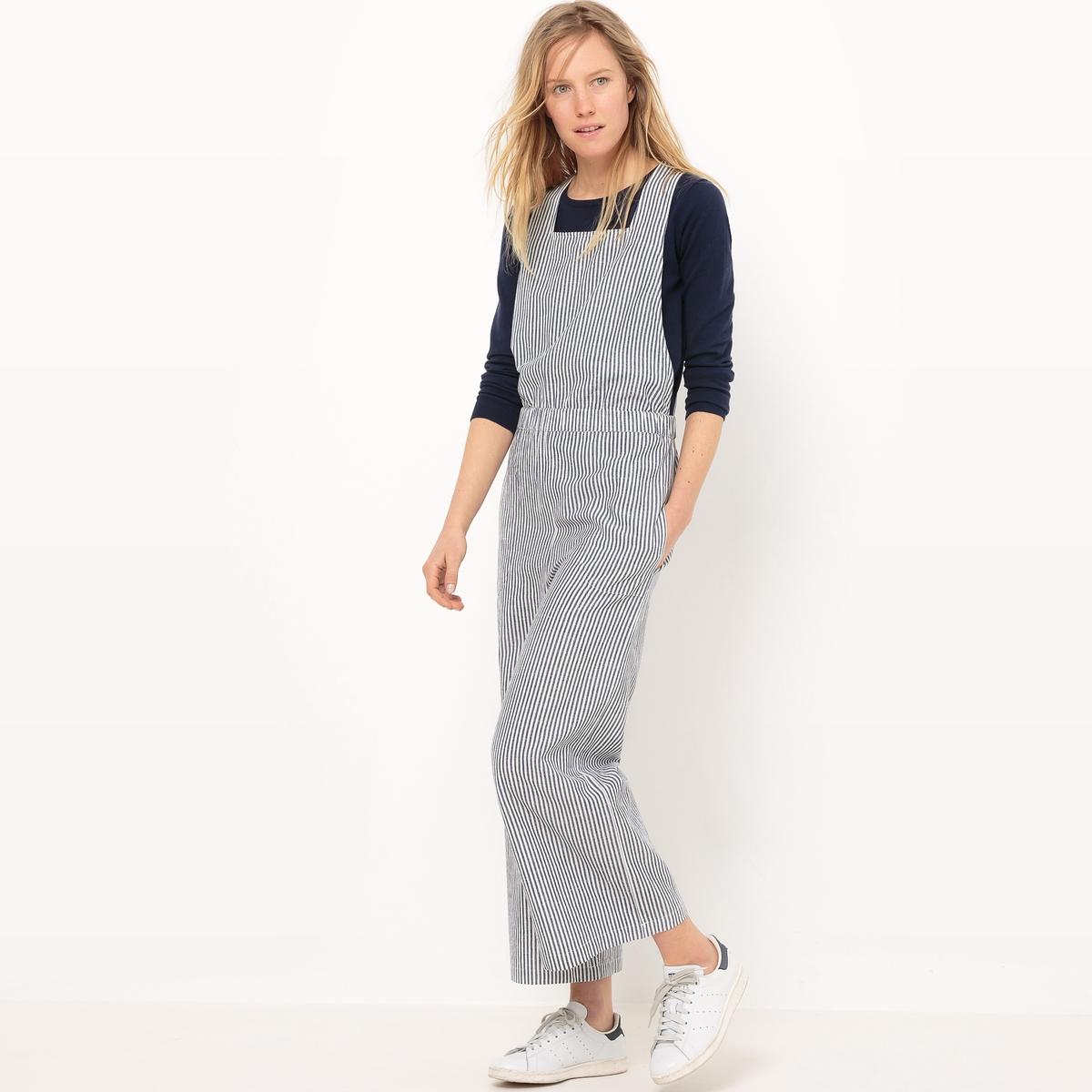Комбинезон с брюками в полоску, эластичный пояс