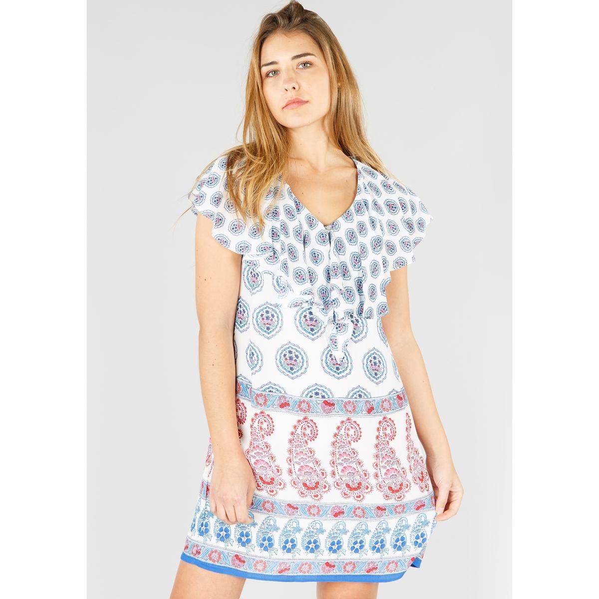 цена Платье La Redoute Короткое с кашемировым рисунком с короткими рукавами L бежевый онлайн в 2017 году