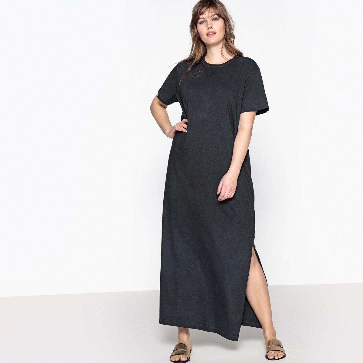 Платье однотонное расклешенное с короткими рукавами, длина 3/4