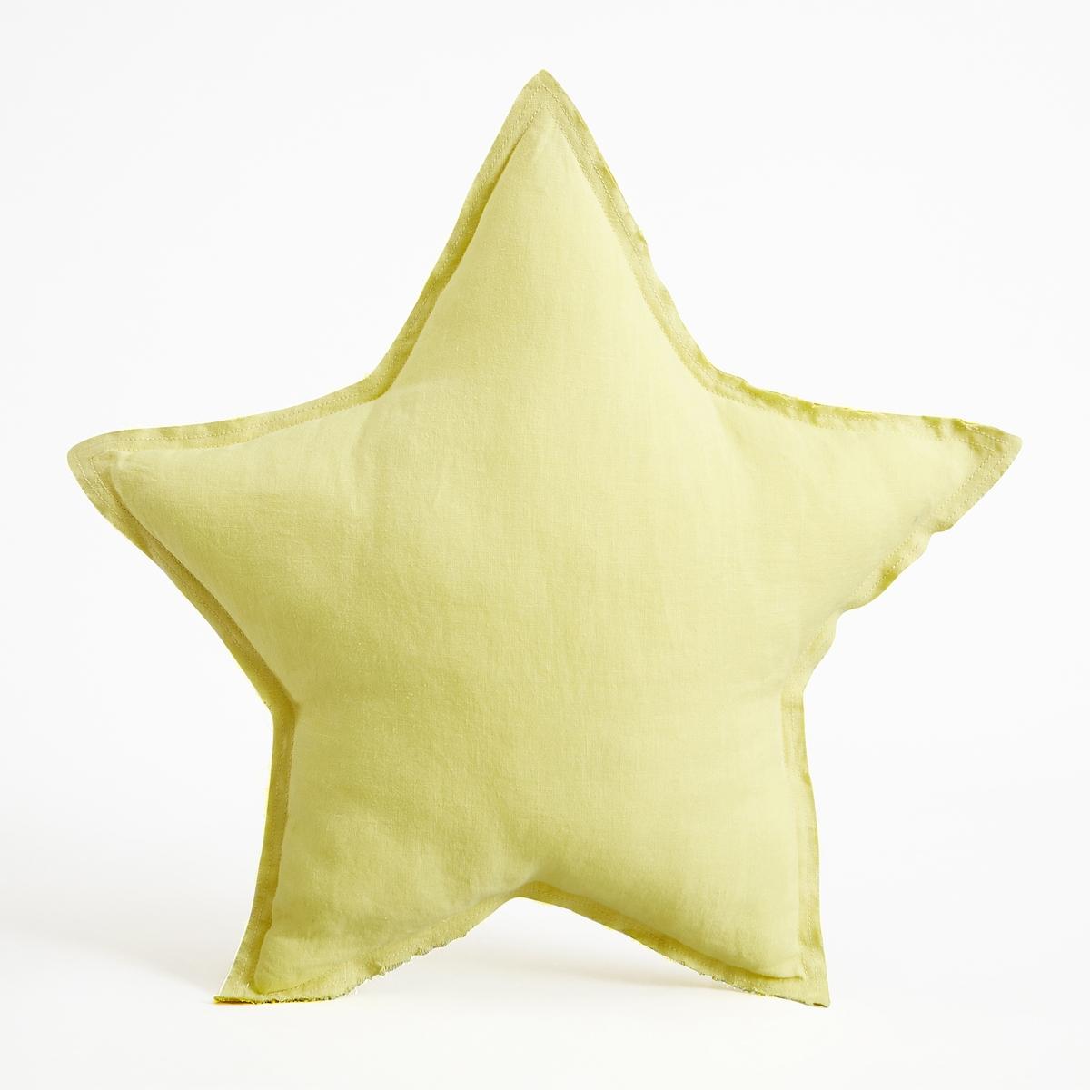 Подушка-звезда AchenzaПодушка Achenza. Подушка-звезда добавит нежности в интерьер спальни малыша. Из 100% двухцветного льна с необработанными краями. Наполнитель из мягких волокон полиэстера. Стирать при 40°C. Размеры : ?45 см.<br><br>Цвет: желтый лимонный