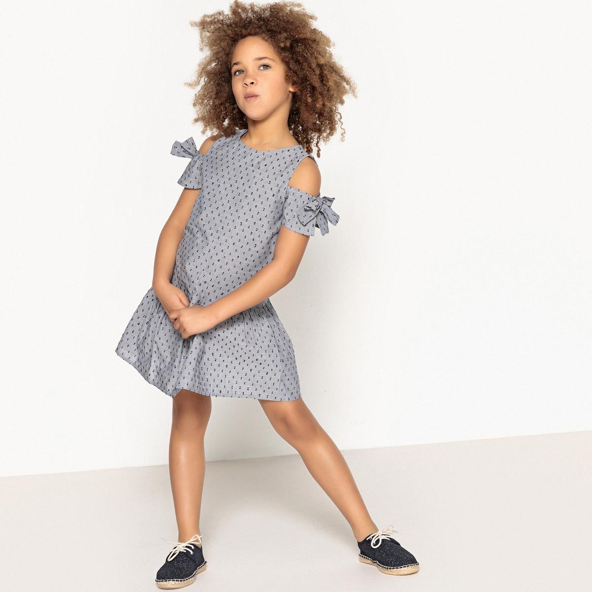 Платье с открытыми плечами, 3-12 лет