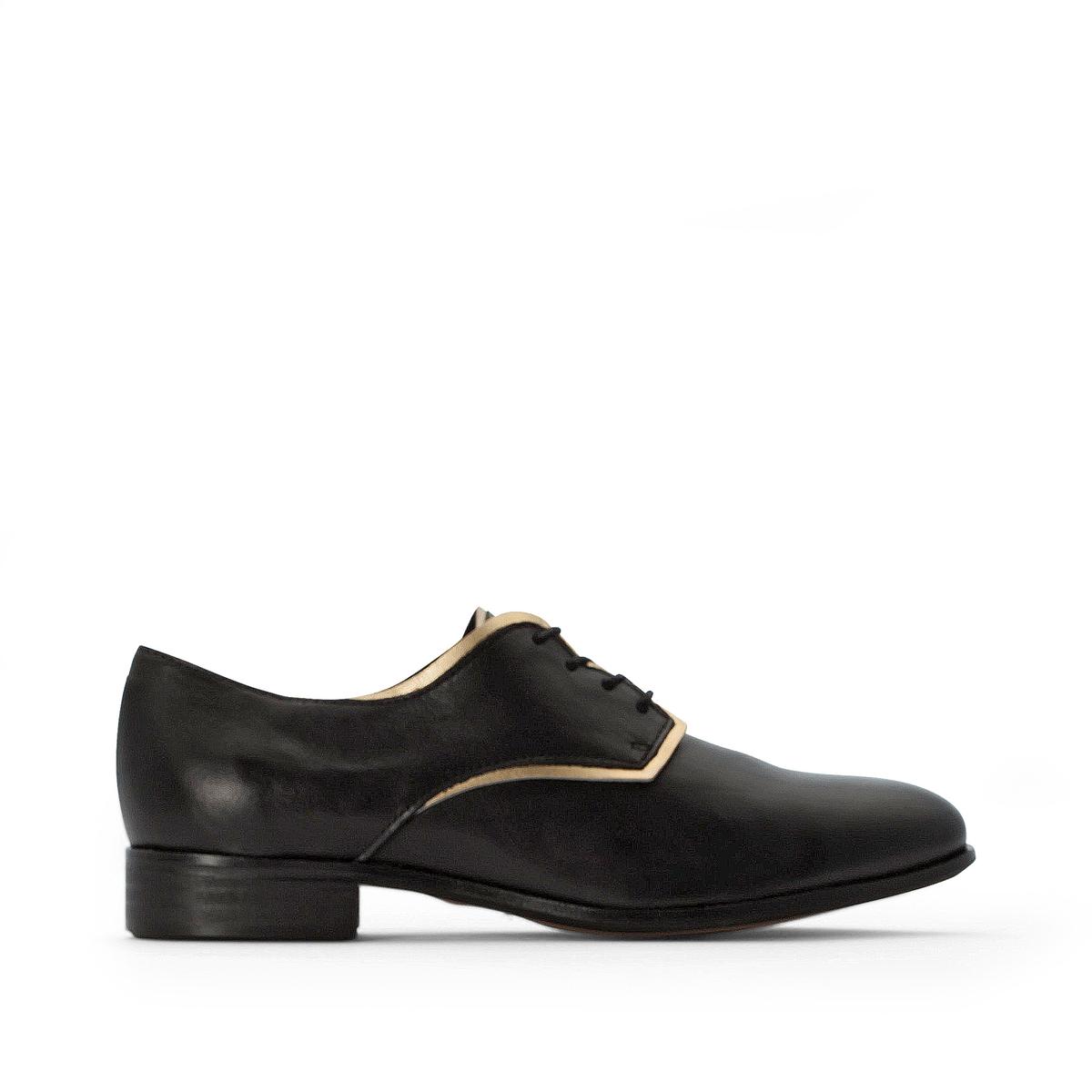цена Ботинки-дерби La Redoute Кожаные на шнуровке 36 черный онлайн в 2017 году