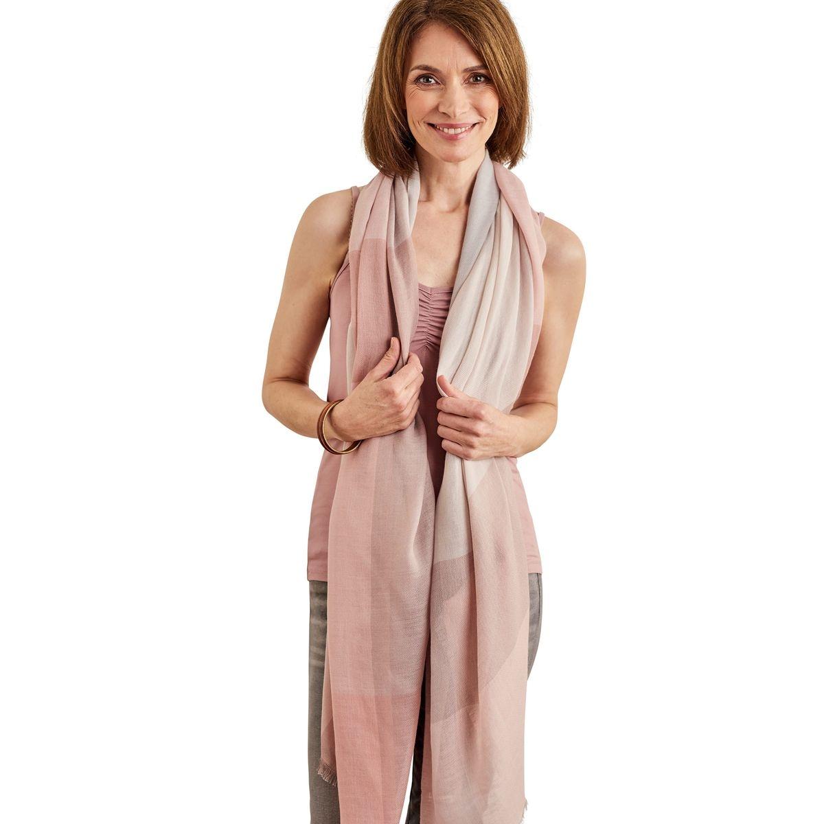 Foulard à carreaux pastel laine mélangée