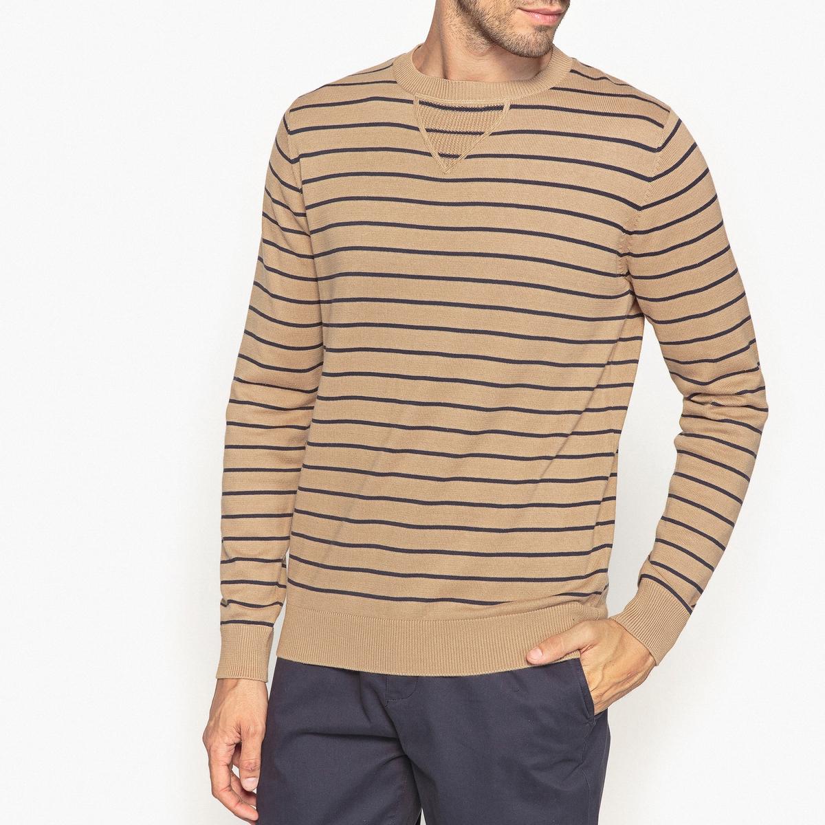 Пуловер в полоску с круглым вырезом, 100% хлопок