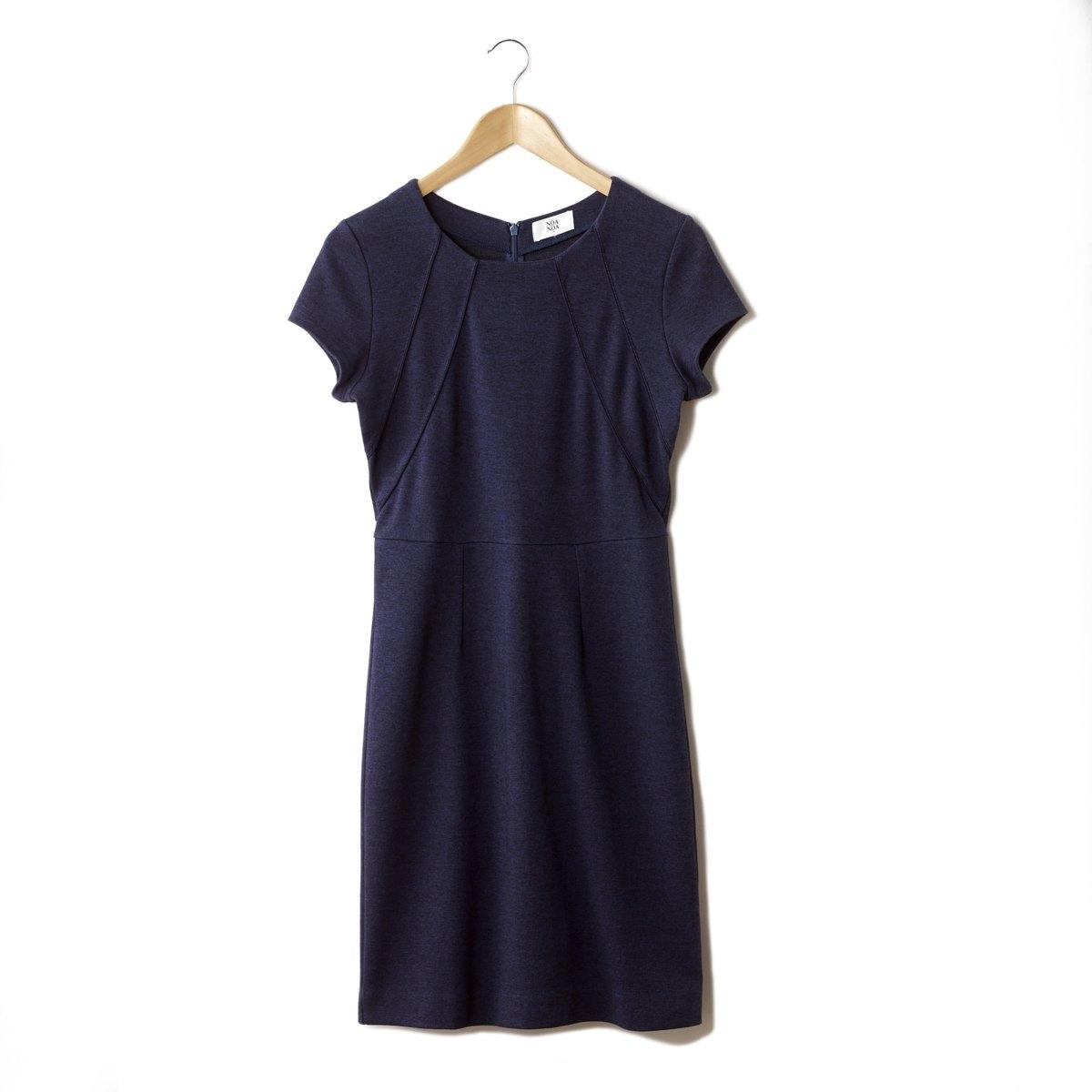 Платье облегающееПлатье NOA NOA. 85% хлопка, 10% полиэстера, 5% эластана. Облегающий покрой. Короткие рукава. Круглый вырез. Длина ок. 93 см.<br><br>Цвет: синий морской<br>Размер: L