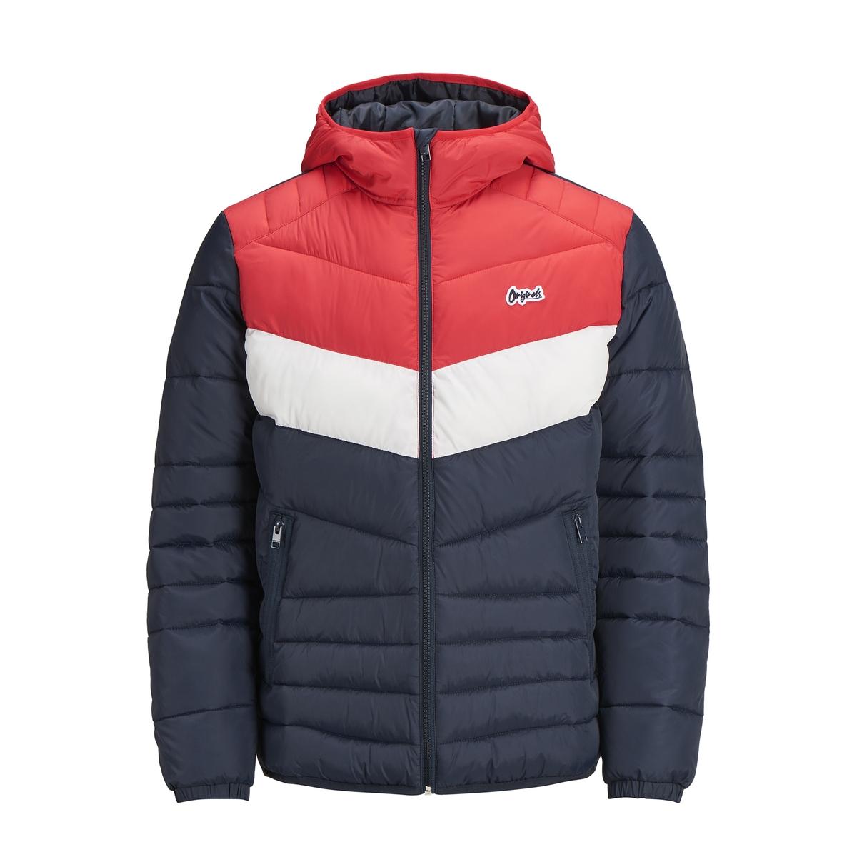 Куртка стеганая тонкая на молнии с капюшоном JACK & JONES