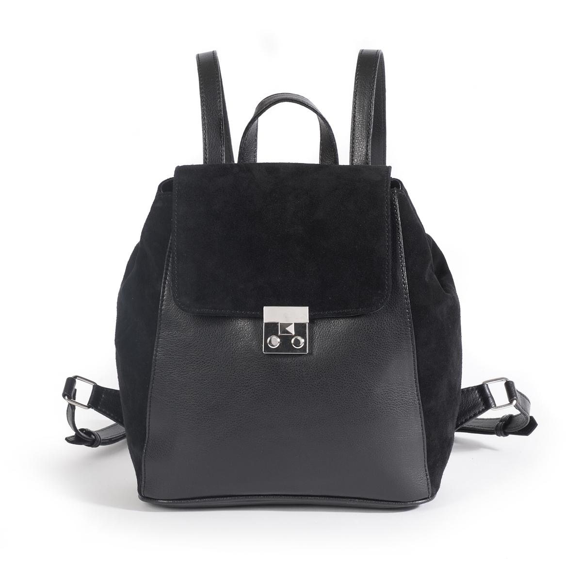 Рюкзак кожаныйОписание:Красивые материалы, графическая застежка, практичная и современная сумка, которую можно носить в руках и как модный и женственный рюкзак.Состав и описание :  •  Материал : верх спилок/козья кожа                        подкладка из текстиля •  Размер : Ш.33 X В.30 X Г.12 см •  Застежка : замочек Внутренний карман : 1 карман на молнии и 1 карман для мобильного телефонаРегулируемые бретелиМожно носить через плечо или в руках<br><br>Цвет: черный