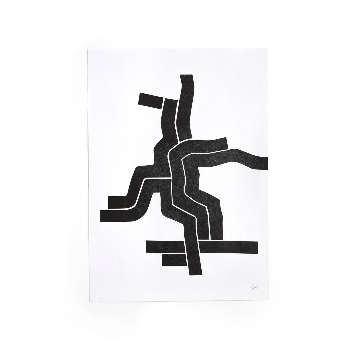 Плакат, рисунок 1 в черно-белых тонах, Bialik от La Redoute