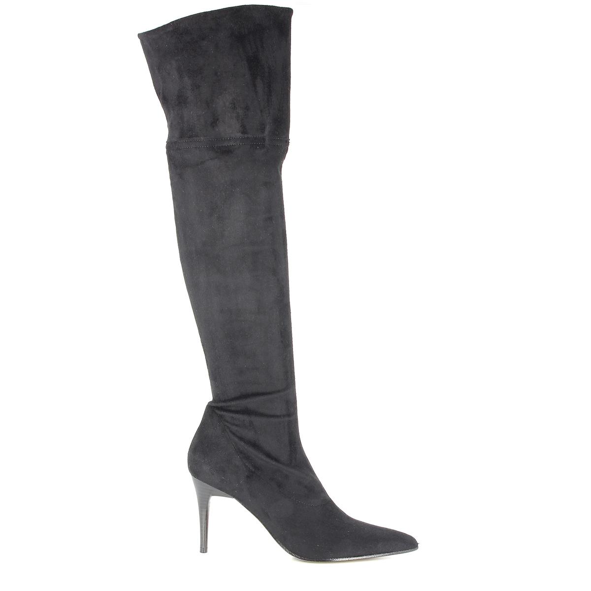 Сапоги на каблуке, LEGAПодкладка: Кожа и текстиль.        Стелька: Кожа. Подошва: Кожа и синтетика.                Высота каблука: 3,6 см.Высота голенища: 59 см.Форма каблука: Шпилька.Мысок: Круглый.        Застежка: На молнию.<br><br>Цвет: черный