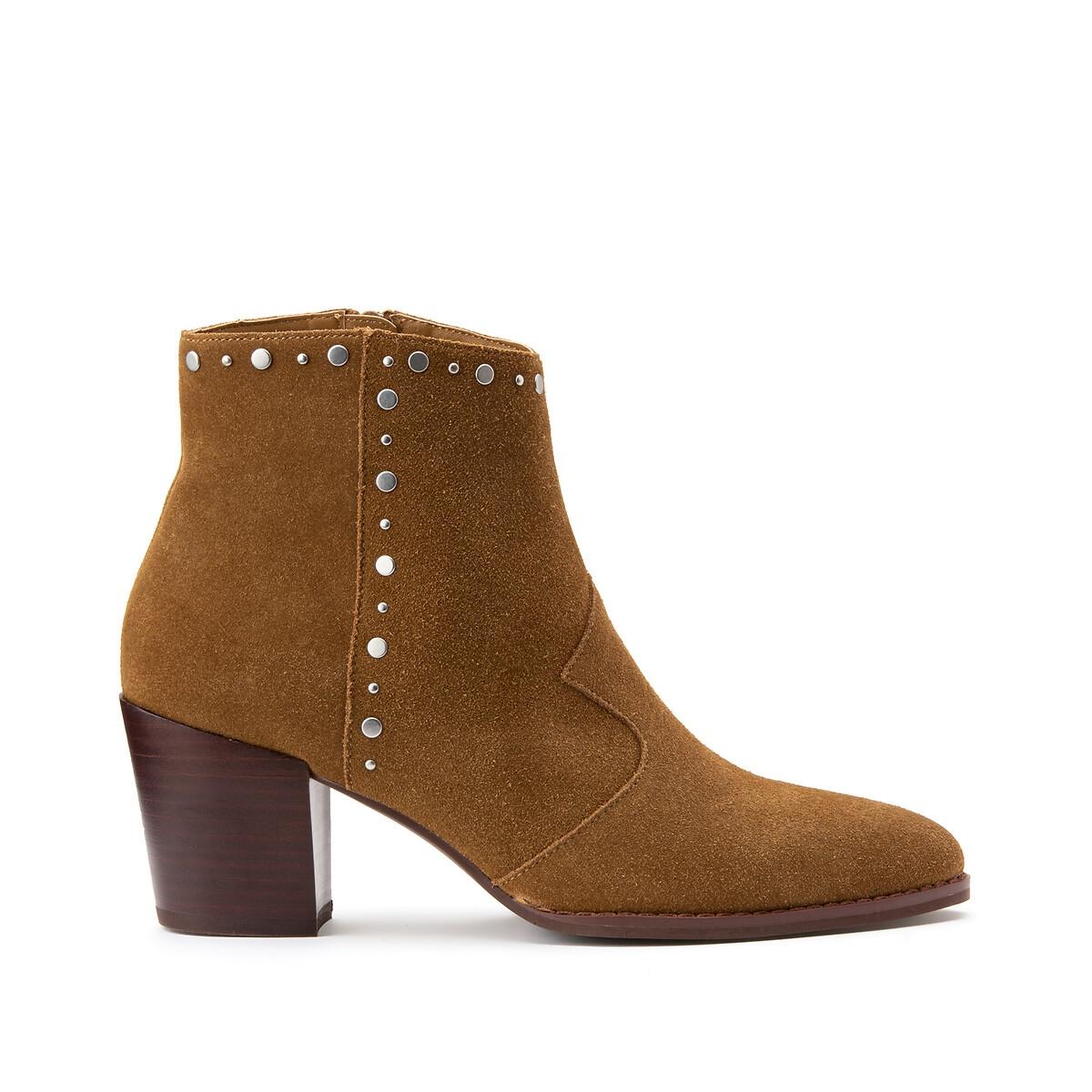 Ботинки LaRedoute Из кожи на широком каблуке отделка заклепками 41 каштановый ботинки laredoute из кожи на широком каблуке с питоновым принтом 39 бежевый