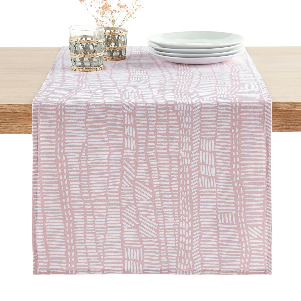 цена Дорожка La Redoute Столовая из стираного хлопка с принтом Tamao 45 x 150 см розовый онлайн в 2017 году