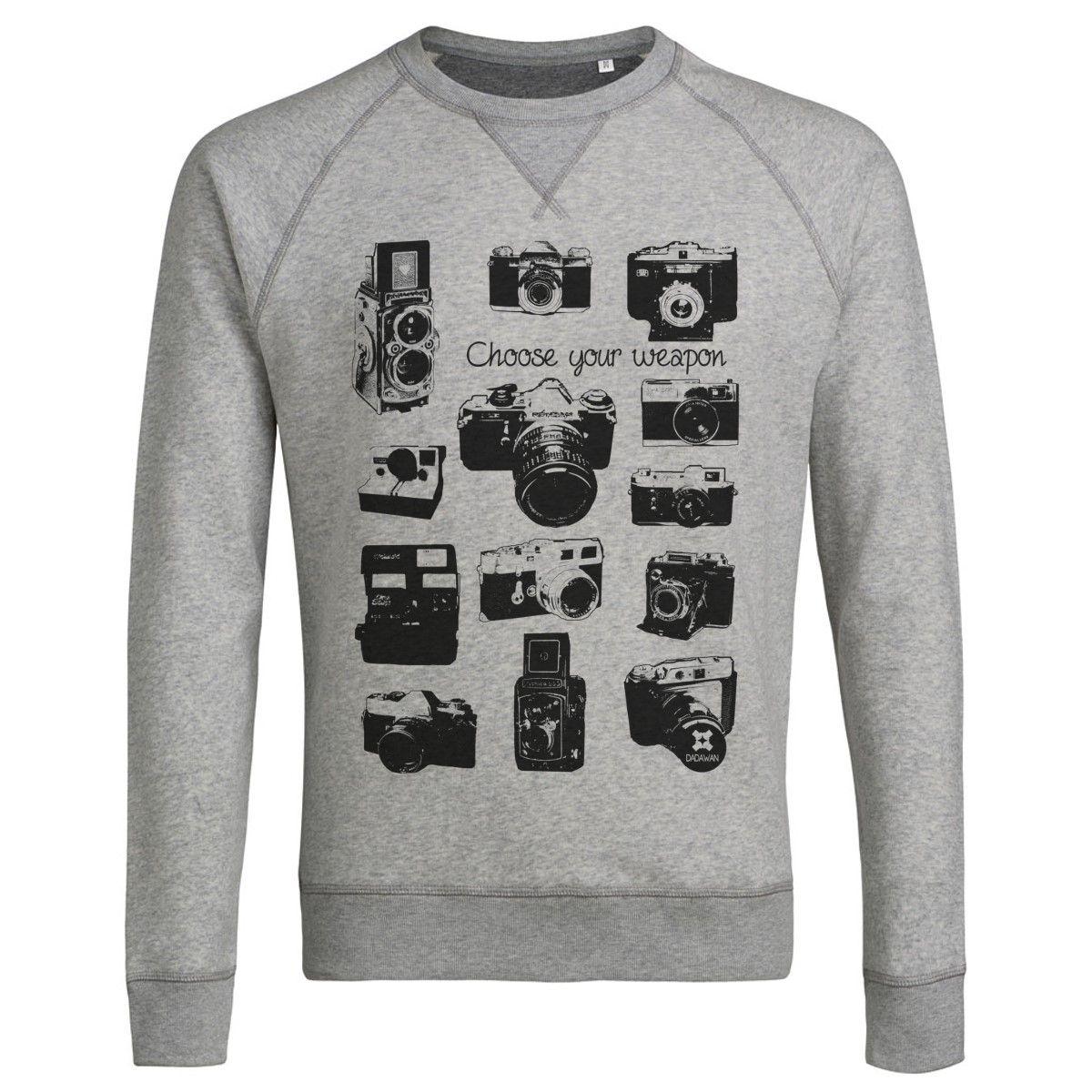 Sweatshirt Imprimé Bio Gris Homme Appareils photo Vintage