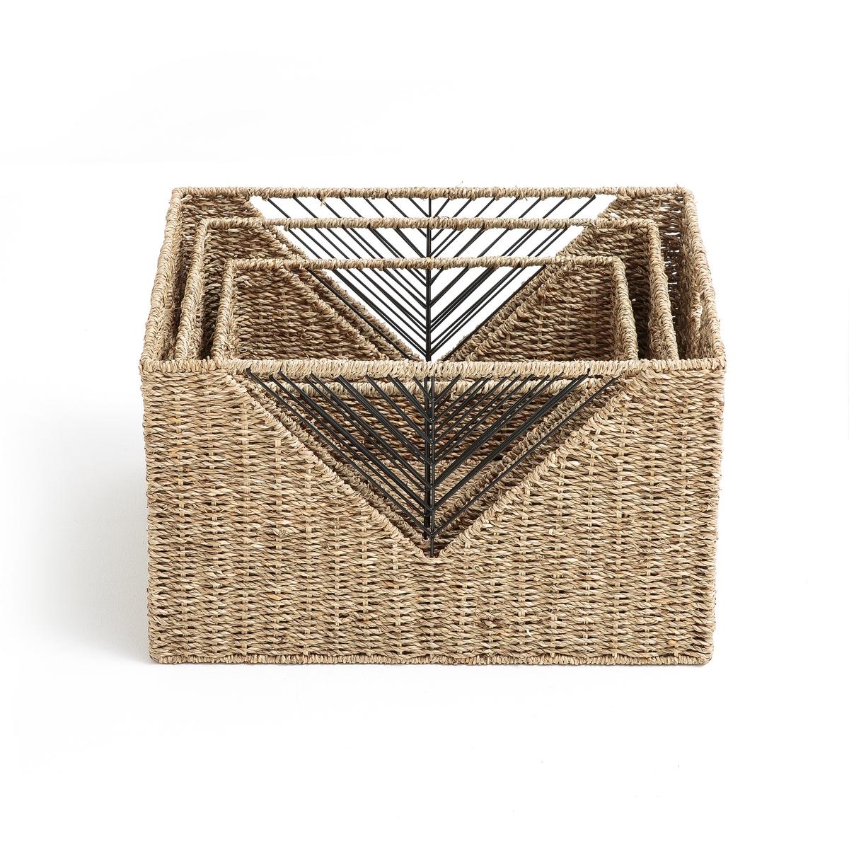 3 корзины для хранения плетеныеОписание:3 корзины плетеные . Сплетенные вручную из натуральных материалов корзины очень вместительны и удобны .Описание корзин : Натуральный плетеный камыш с ажурным рисунком Каркас из металла2 ручки.Квадратная формаМожно ставить друг на другаРазмеры :Большая : 36 x 36 x 30 см Средняя: 30 x 30 x 26 см Маленькая : 23,5 x 23,5 x 23,5 см Расцветка : Натуральная Размеры и вес ящика :1 colis38 x 38 x 33 см .4,6 кгДоставка :До вашей квартиры !Внимание ! Убедитесь, что посылку возможно доставить на дом, учитывая ее габариты.<br><br>Цвет: серо-бежевый