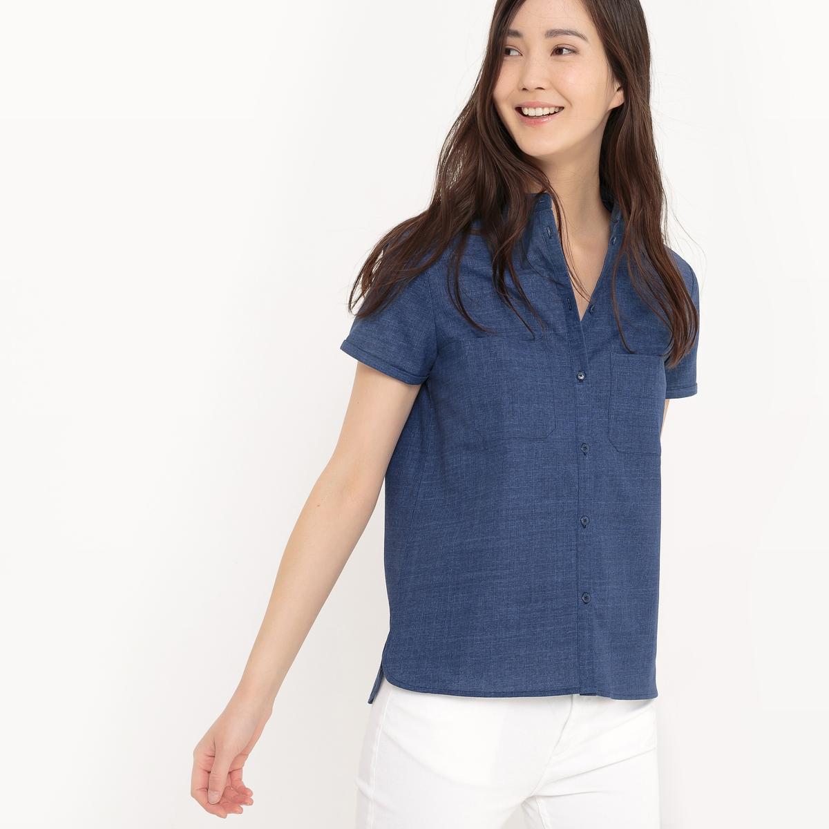 Рубашка с короткими рукавами из легкого денима