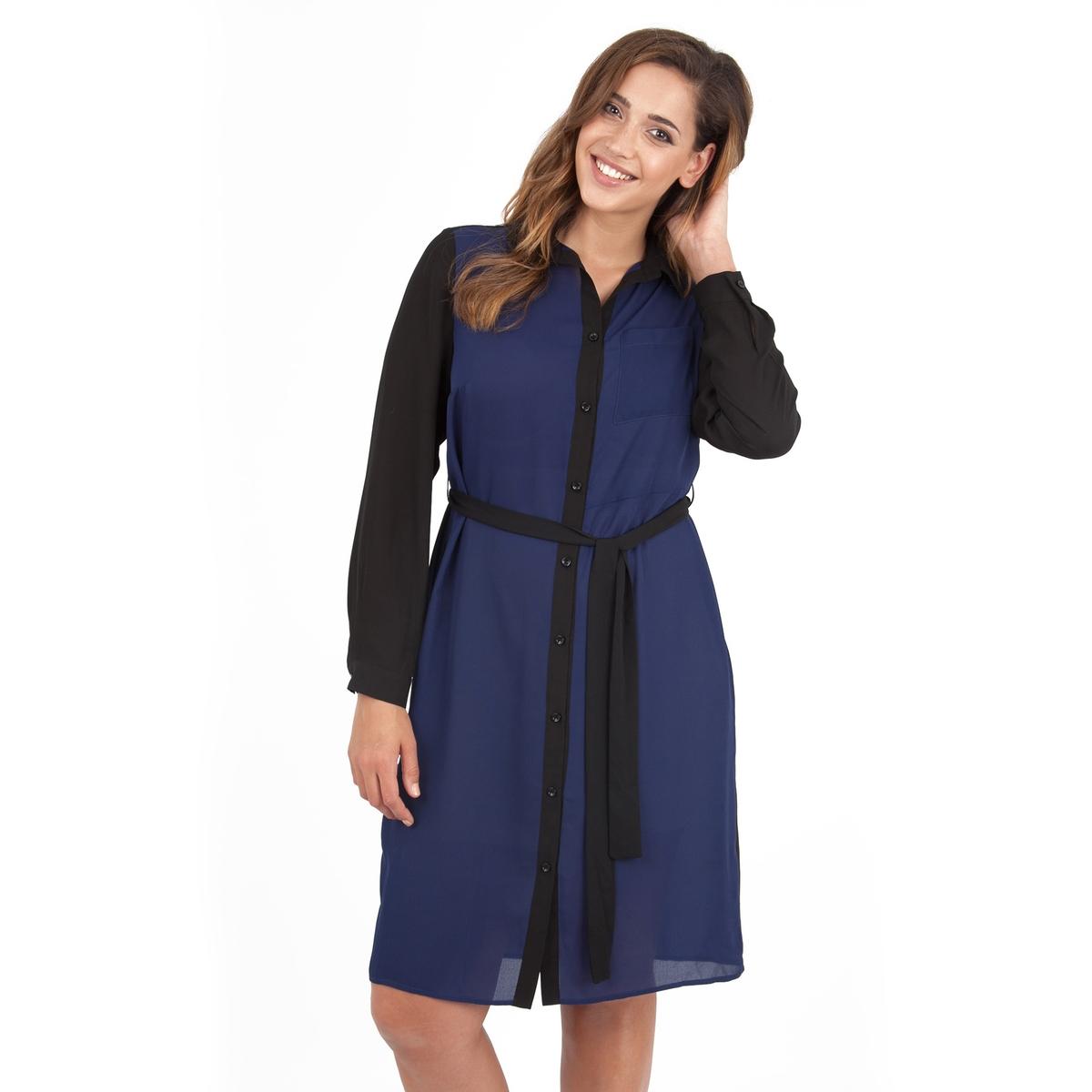 ПлатьеПлатье с длинными рукавами - LOVEDROBE. Красивое платье-рубашка с ремнем на поясе. Длина ок.104 см. 100% полиэстера.<br><br>Цвет: темно-синий + черный