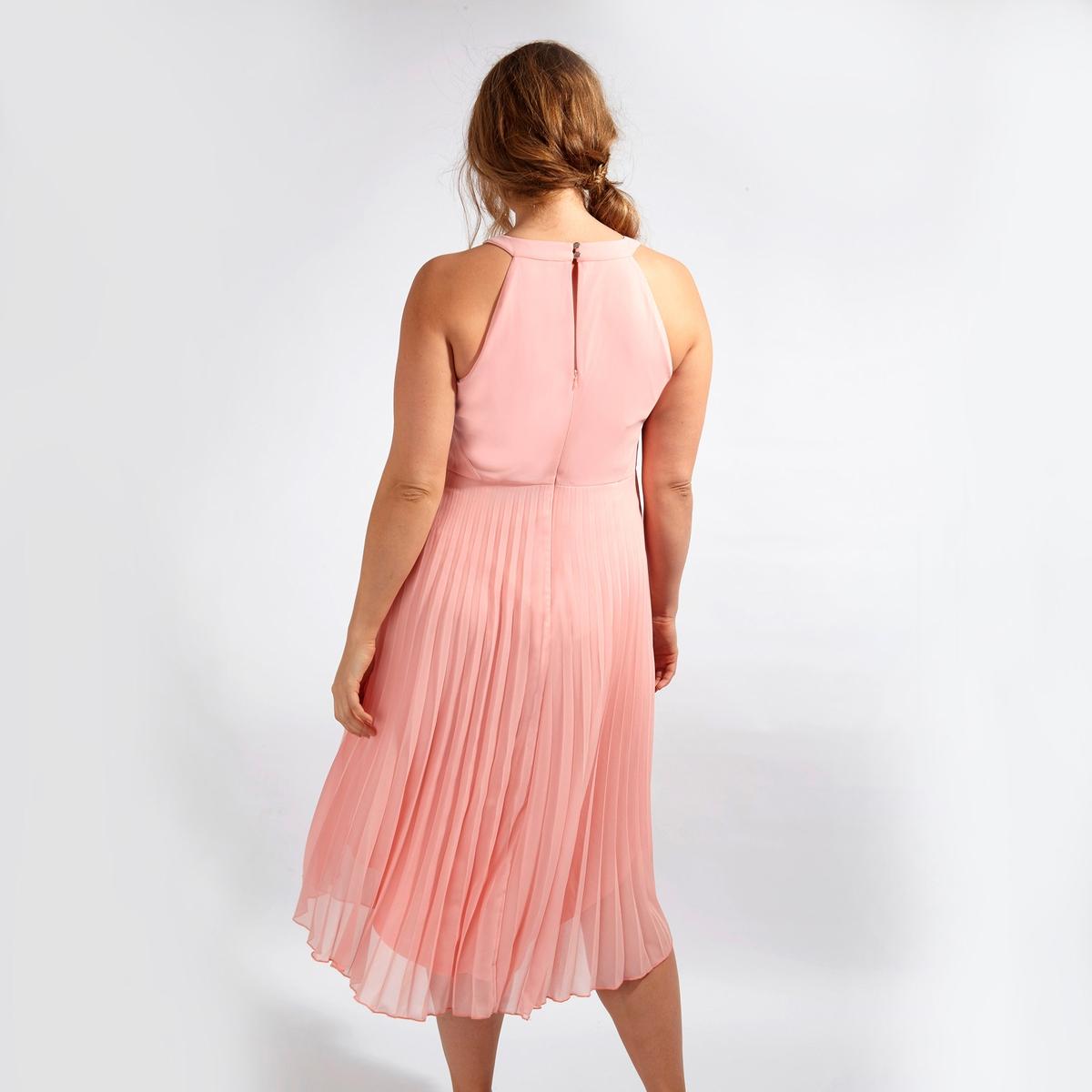 ПлатьеПлатье без рукавов LOVEDROBE. Юбка с эффектом плиссе. Красивый вырез-капля и застёжка на молнию сзади. 100% полиэстер<br><br>Цвет: бледно-розовый