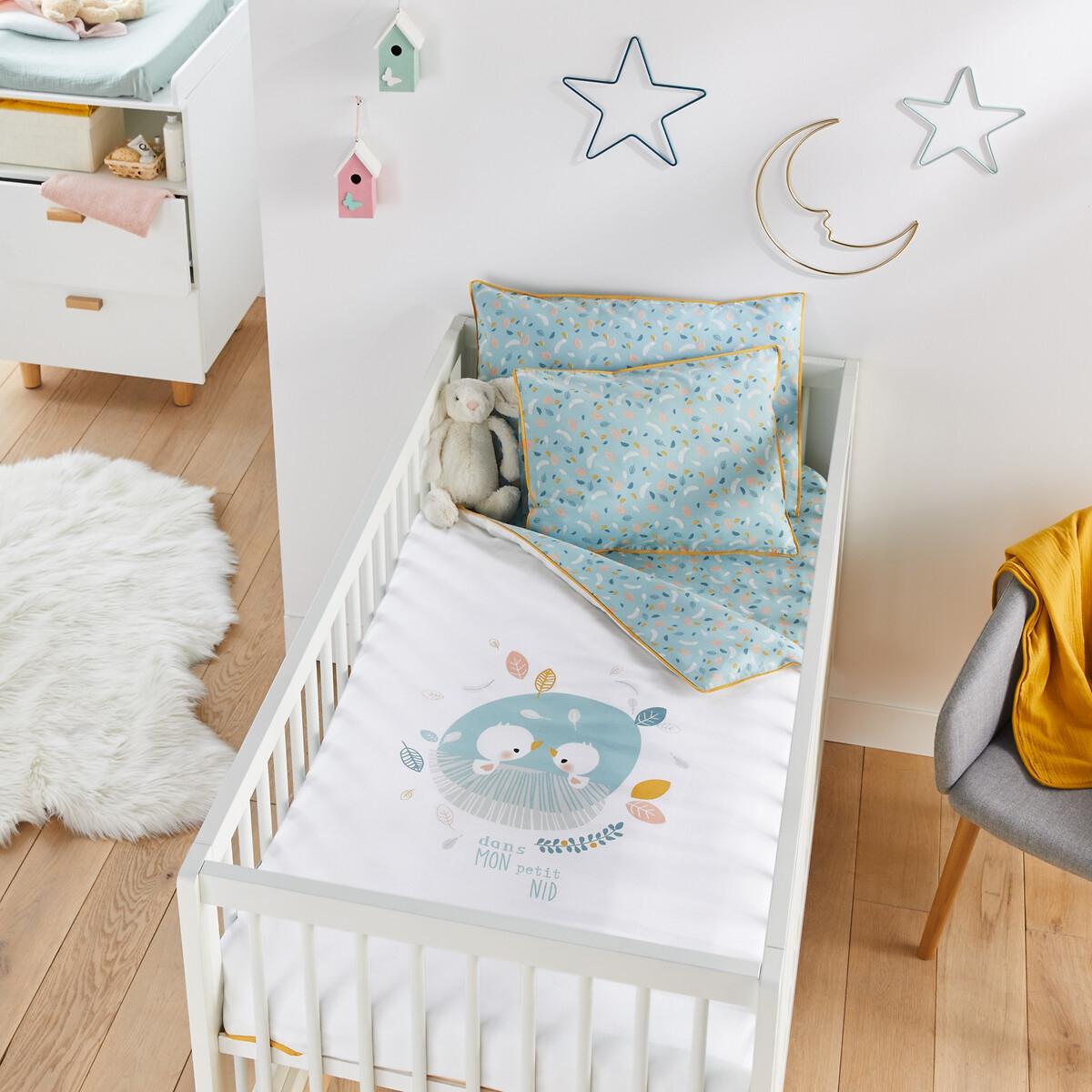 Пододеяльник LaRedoute Детский Dans mon Petit Nid 80 x 120 см белый банная накидка и рукавичка au lit mon petit doudou