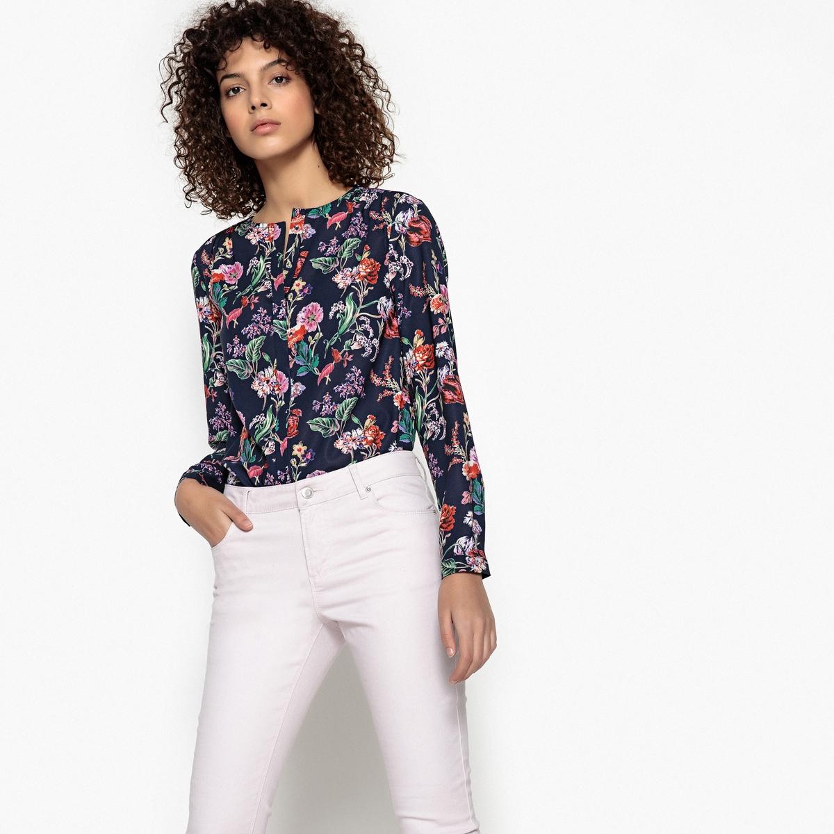 Blusa com decote em V, estampado floral, mangas compridas