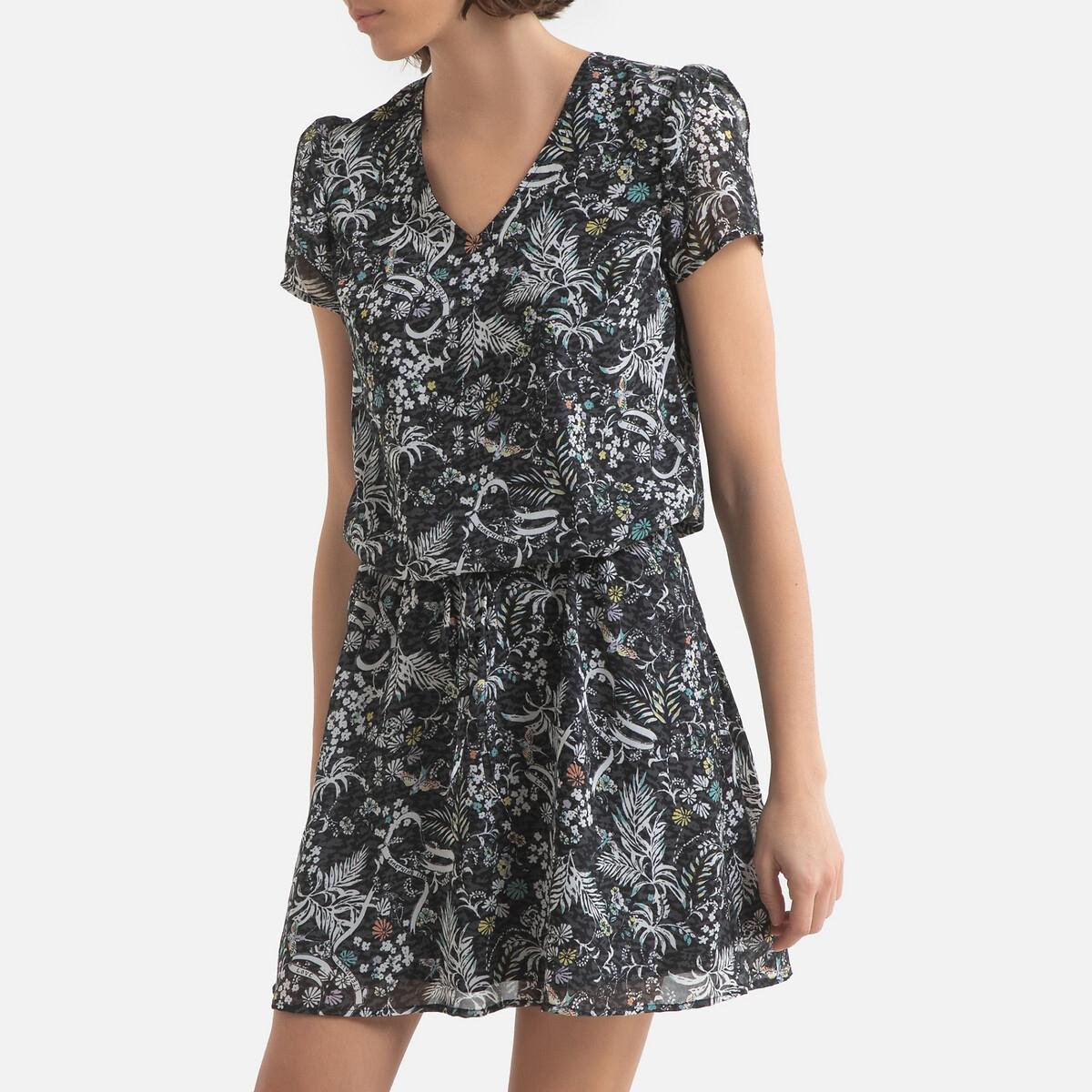 Платье LaRedoute С принтом короткое с короткими рукавами 42 (FR) - 48 (RUS) черный