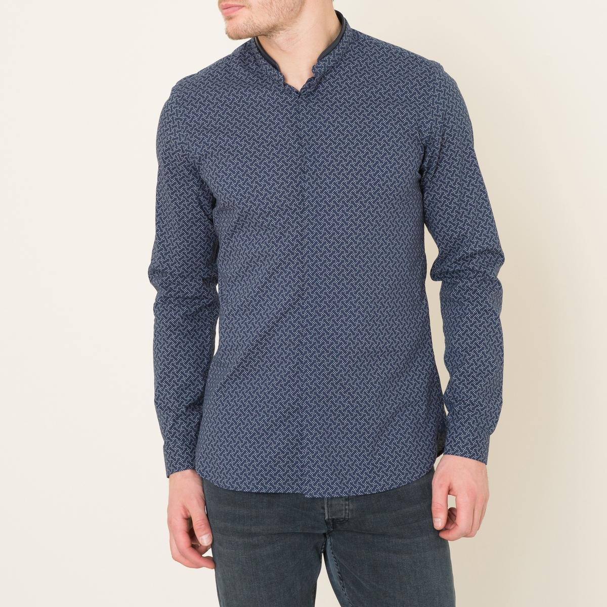 Рубашка с принтом и с кожаной отделкойСостав и описание:    Материал : 100% хлопок   Воротник 100% кожа ягненка  Марка : THE KOOPLES<br><br>Цвет: синий