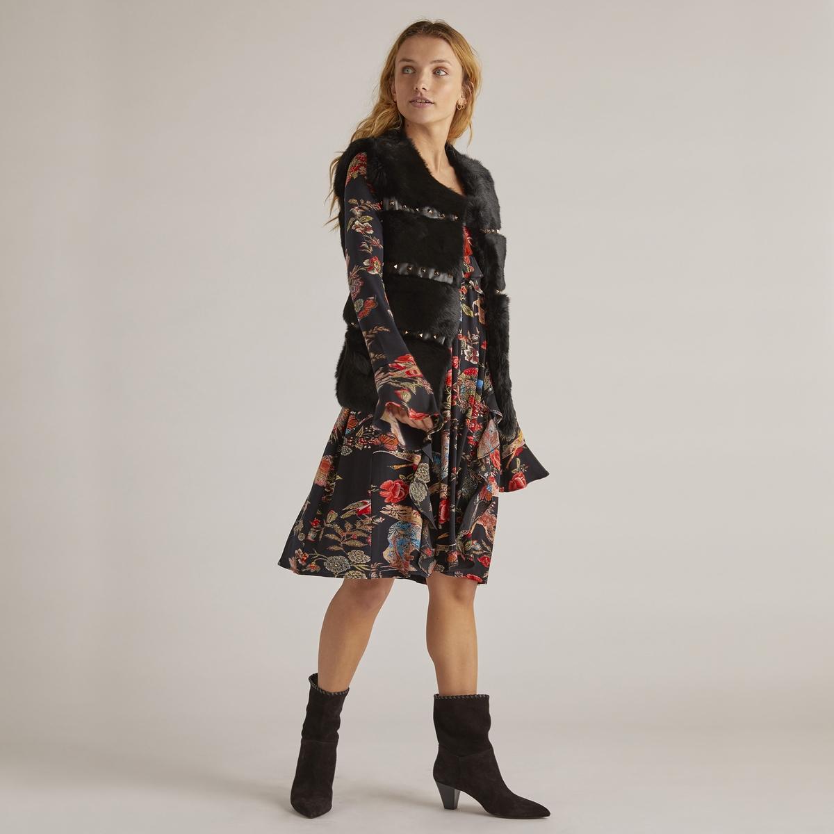 Платье расклешённое с цветочным рисунком, длина 3/4 платье укороченное расклешённое с рисунком рукава 3 4