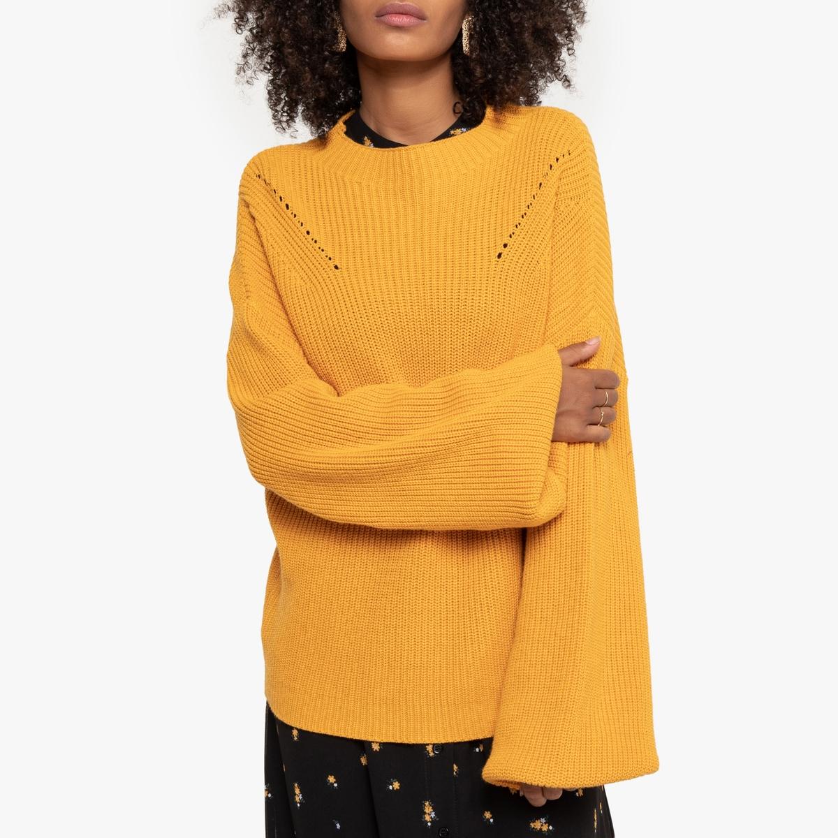 Пуловер La Redoute С воротником-стойкой из плотного трикотажа S желтый