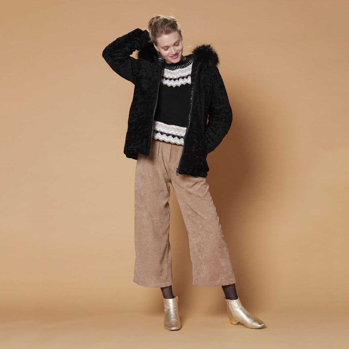 Пальто La Redoute С капюшоном с искусственным мехом M черный цена 2017