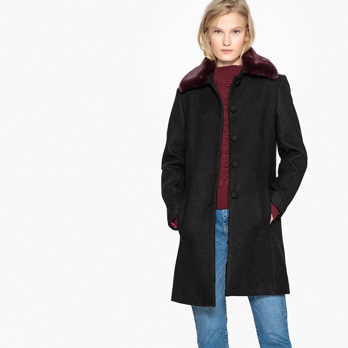 Abrigo de mezcla de lana con cuello de pelo sintético