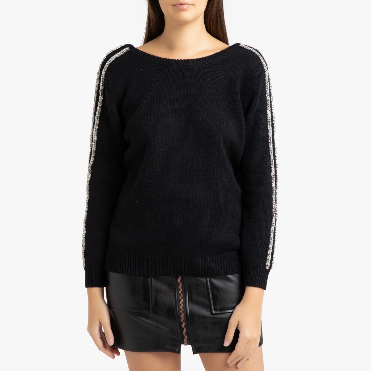 Пуловер La Redoute Со стразами на рукавах DELHIA 2(M) черный
