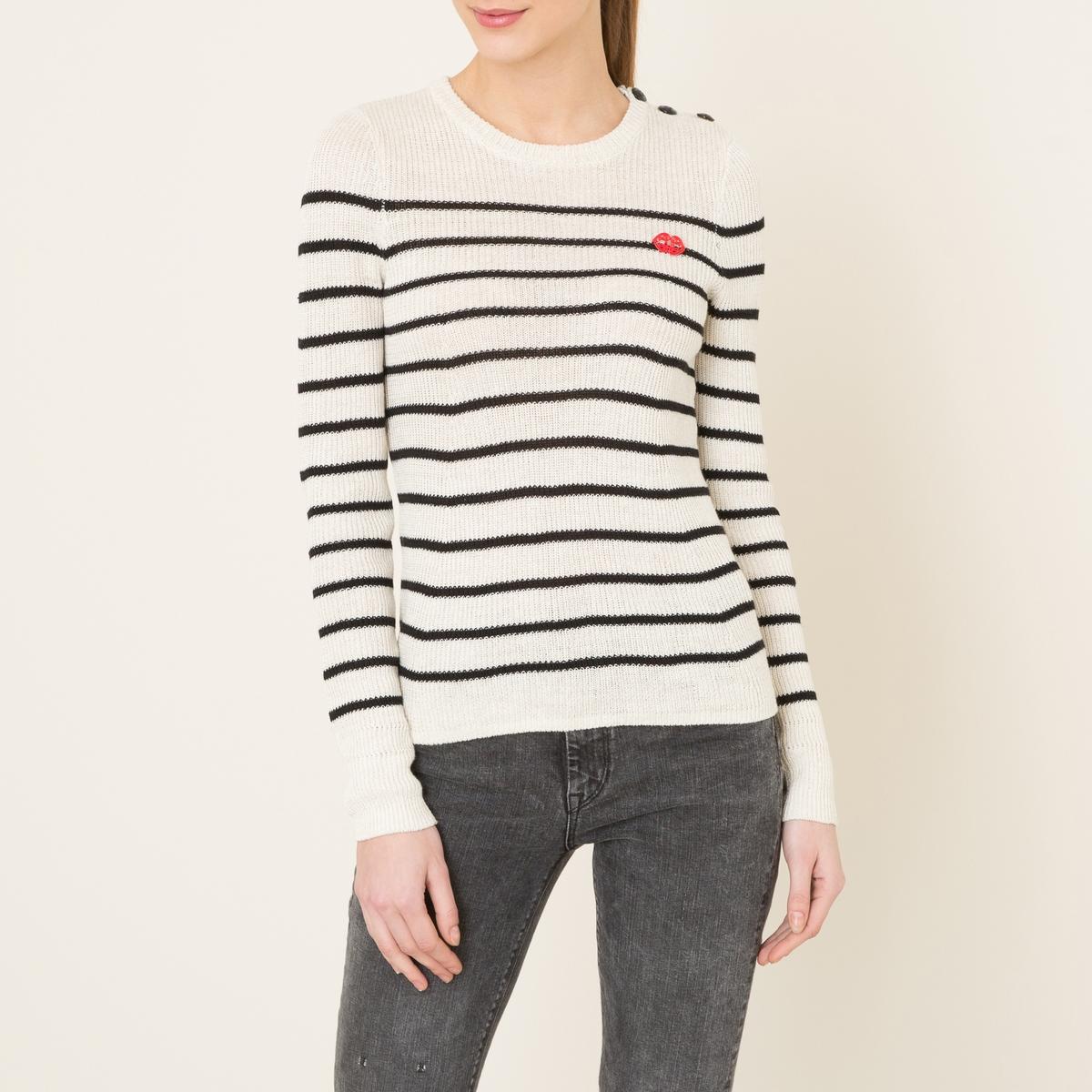 Пуловер в полоску в морском стилеСостав и описание    Материал : 60% льна, 40% хлопкаМарка : MAISON SCOTCH<br><br>Цвет: экрю/ темно-синий