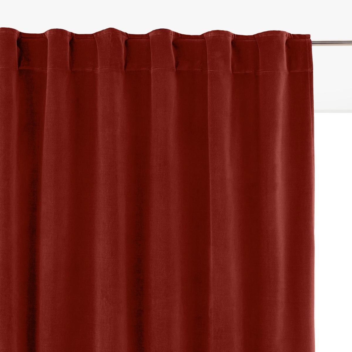 Штора LaRedoute Из велюра с отделкой потайными патами Velvet 350 x 135 см красный