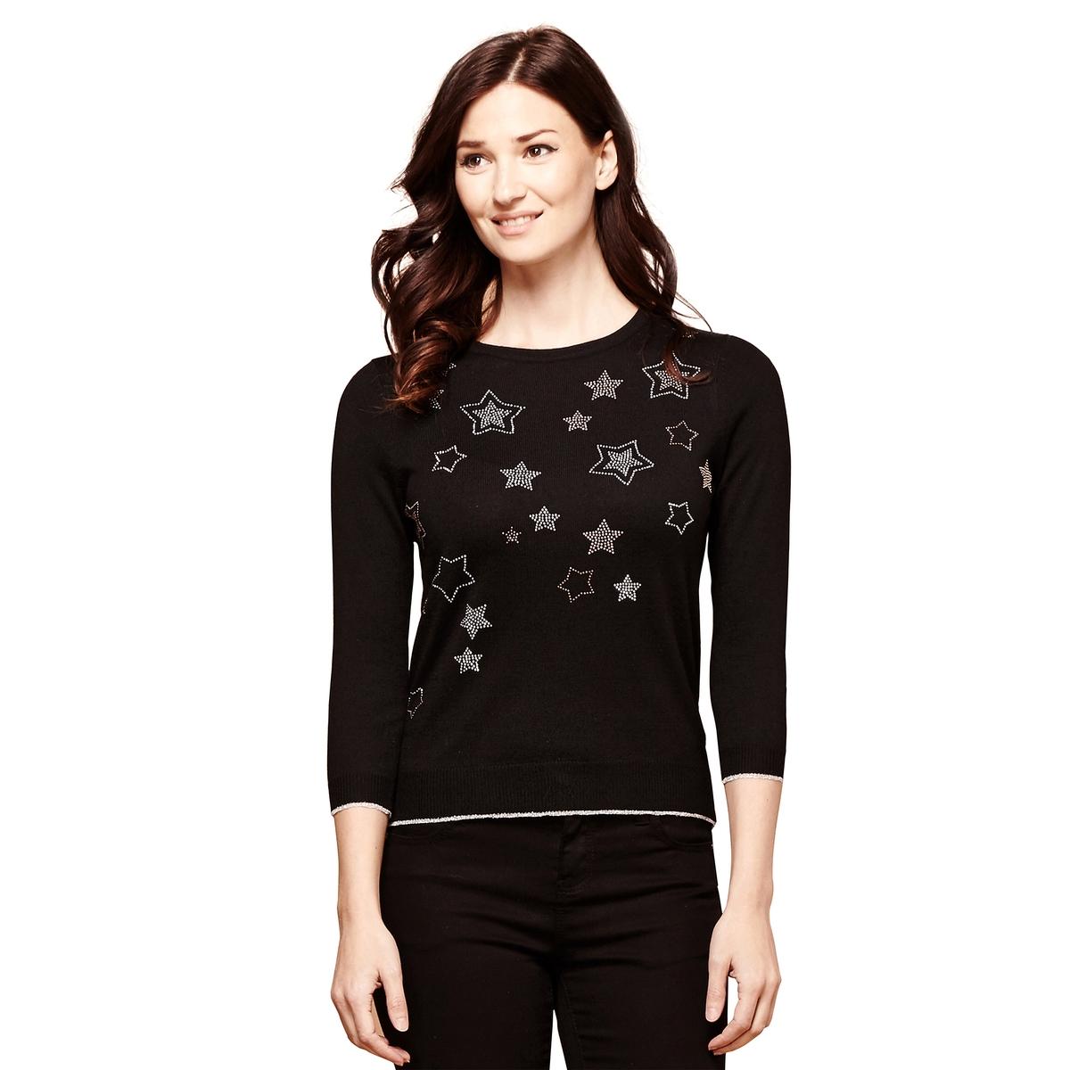 Пуловер с круглым вырезом из тонкого трикотажа overall yumi overall